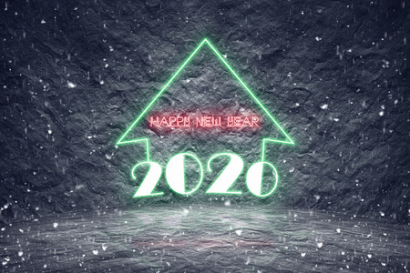 Modern neon glowing sign for upcoming 2020 new year as  future predictions and time passing concept on snowing night.