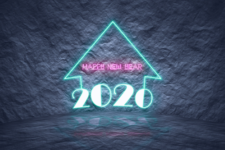Modern neon glowing sign for upcoming 2020 new year as  future predictions and time passing concept on dark natural rock textured background.