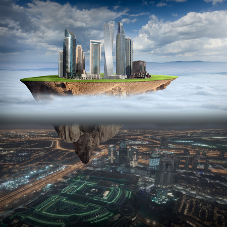 Fantasy island with idyllic modern city levitating in the air above the clouds and another city in the dark. Ecology concept.