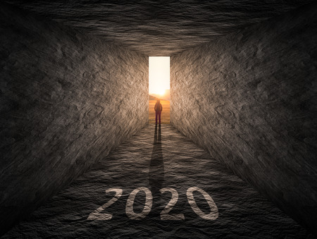 Successful way out and problem solving as silhouette of a lone woman to find solution in upcoming 2020 new year. Business and success concept. Stock fotó