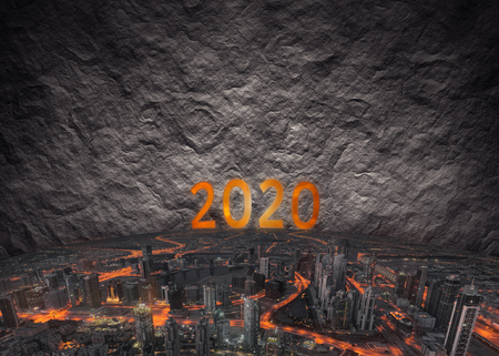 Finding solution and problem solving as modern city surrounded by walls in upcoming 2020 new year. Business and future concept. Stock Photo
