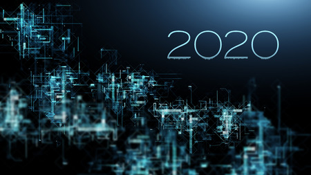 2020 year as technology development of network connections in global communications. Business concept. Stock fotó