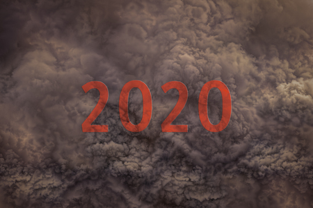 2020 new year as global warming concept through the dangerous sand storm. 版權商用圖片