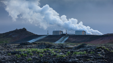 Power station use geothermal energy and produces electricity and hot water for heating as renewable source.