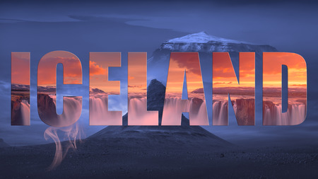 Travel collage of famous places on Iceland with elements of advertisement as a tourist attraction. Stock fotó