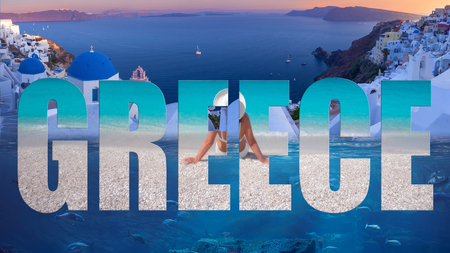 Travel collage of famous places in Greece with elements of advertisement as a tourist attraction.