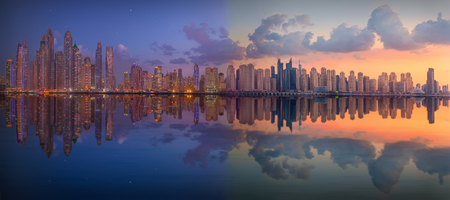 Nigt and day concept with spectacular change how looks urban scenery and city life. Stock fotó