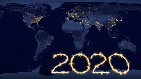 2020 new year celebration with sparkling numbers as global future concept on world level. Some elements furnished by NASA images.