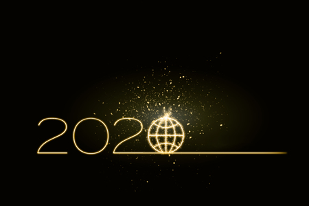 2020 celebration with sparkling effect as global future concept on world level Stock fotó