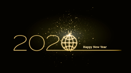 2020 celebration with text happy new year as global future concept on world level 版權商用圖片