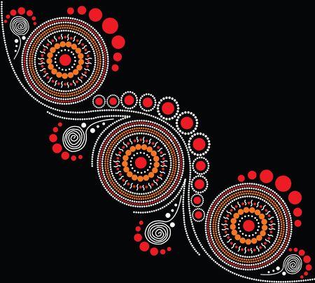 Ilustración basada en el estilo aborigen de la pintura del punto. Ilustración de vector