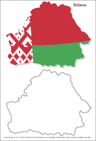 patriots: Vector map of Belarus with national flag background