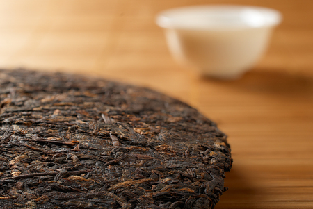 pu: puer tea closeup with shallow depth of field