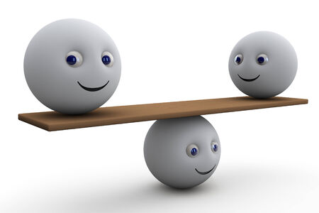 equilibrium - 3d composition with ball smiley symbol