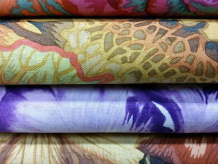 Stack of colorful folded fabric Stock Photo