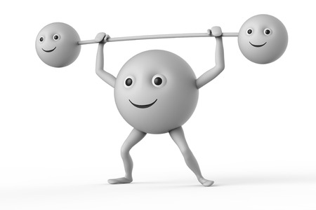 weightlifter: weightlifter 3d smiley symbol on white