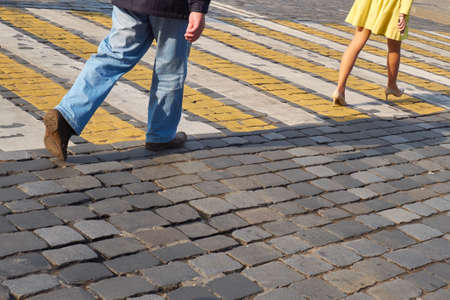 crosswalk: Pedestrian crosswalk in the city Stock Photo