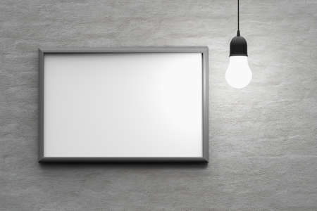 parget: bulb light with frame on the wall 3d render