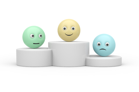 podium with 3d ball shape smiley symbol