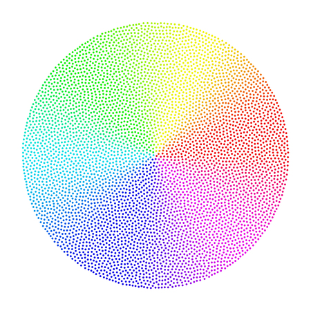 Colorful dotted conical gradient circle. vector graphic element for design