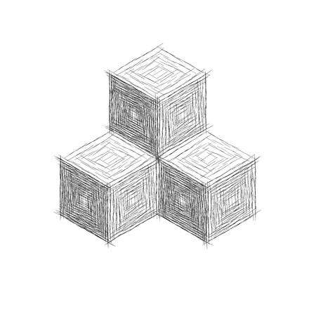 tone shading: cubes with stripes like a hand drawn. vector graphic element for design