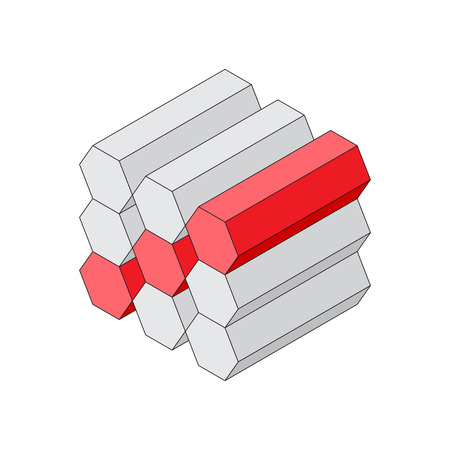 Isometric view of geometric shapes. Hexagonal cylinders stacked in a block