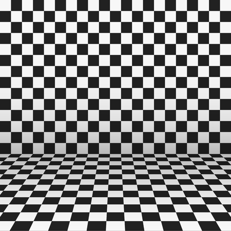 A checkered black and white wall and floor in perspective view Çizim