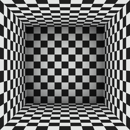 Black and white cubes or checkered surfaces that makes an abstract room. monochrome vector illustration