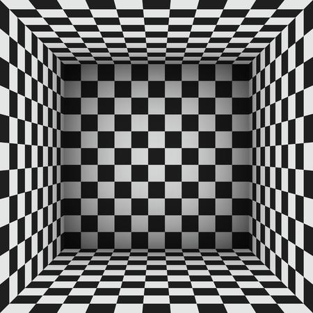 Cubi in bianco e nero o superfici a scacchi che creano una stanza astratta. illustrazione vettoriale monocromatica