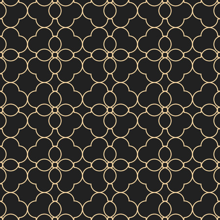 Black and gold seamless pattern in oriental style. Abstract ornamental vector illustration