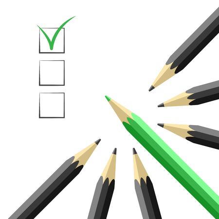 Pencils and checkboxes. Agreement and choice concept vector illustration Illustration