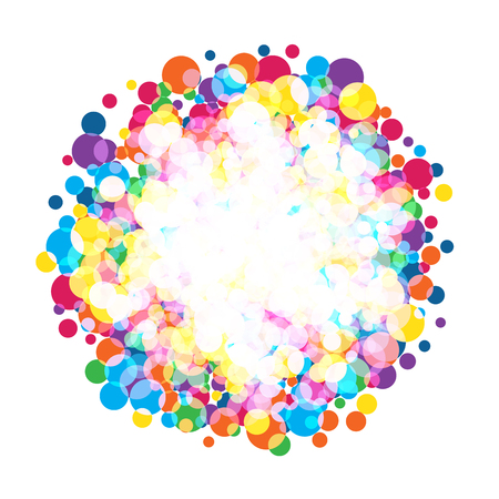 Colorful bright circles. Rainbow colors spotted vector background.