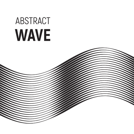Black curved lines with variable thickness. Abstract halftone wave. Illustration
