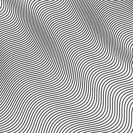 Curved wavy lines. Abstract halftone waves. Vector graphic background for design