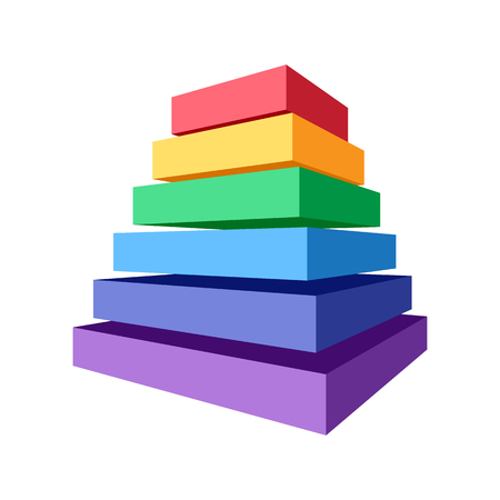 Stack of colored square blocks with different dimension. Abstract geometric element for design