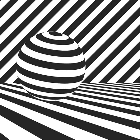 surfaces with black and white stripes and striped sphere. optical illusion backdrop. abstract zebra dynamic vector background for design Illusztráció