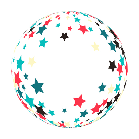 colored stars that makes a sphere. abstract bright color confetti texture vector background. Illustration