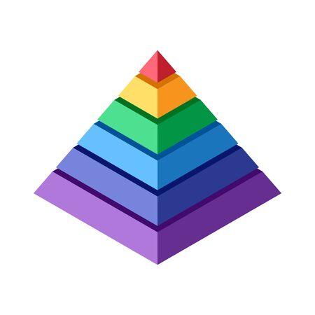 Stapel farbiger Blöcke, die eine Pyramide bilden. Isometrische Ansicht des abstrakten geometrischen Elements für Design