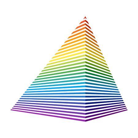 Streifen mit vollem Farbspektrum, die in perspektivischer Ansicht eine Pyramide bilden. Vektorelement für Design Vektorgrafik