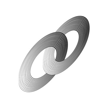 black concentric lines with different thickness that makes a two intersected rings. abstract halftone geometric shapes. suitable , product branding etc. Иллюстрация
