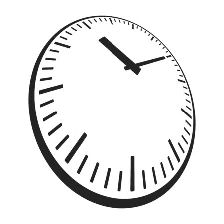 simple style clock face with perspective angle. vector icon of watch Illustration