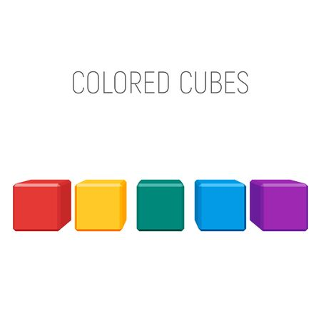colored cubes in a row. geometric shapes with bevels. vector element for business, logo or other design Иллюстрация