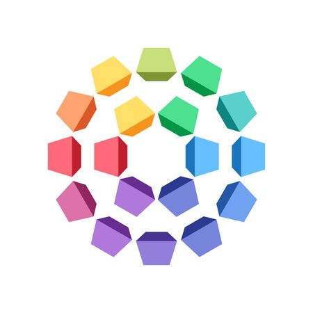 Group of colorful geometric shapes that makes a circles. Perspective distorted cubes. Vector element for logo, infographic or other design