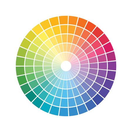 geometric shapes that makes a concentric circles. rainbow color spectrum tiled rings. color wheel. vector element for design