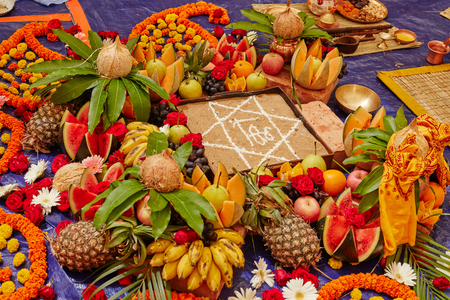vedic: Yajna kund, Vedic sacrifial ceremony with nice decorations and fruit