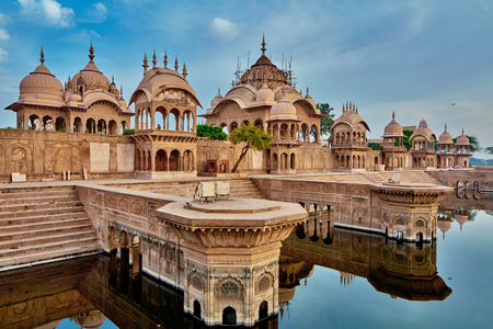 dome of hindu temple: Kusum Sarovar holy place - Vrindavan, India
