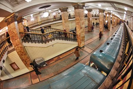 Fisheye photo of metro station Komsomolskaya in Moscow