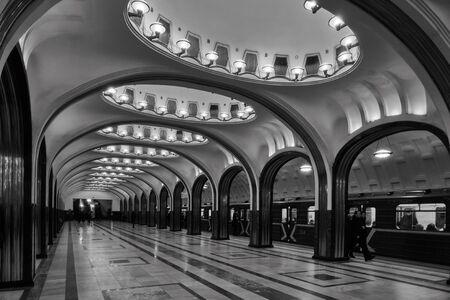 Moscow - 10 January 2017: Mayakovskaya metro station at the evening