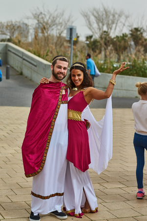 Tel Aviv - 20 February 2017: People wearing costumes in Israel during Purim celebration Editorial