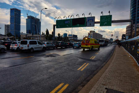 Tel Aviv - 22 January 2017: Road near Azrieli mall day time